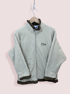 L Vintage Fila Full Zip Beige and Brown Fleece - DURT