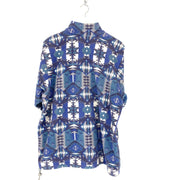 M Aztec Print Blue Button Down Fleece - DURT