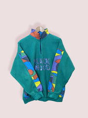 M Black Wood Green Half Zip Ski Fleece - DURT