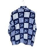 M Blue Floral Print Quarter Zip Fleece - DURT