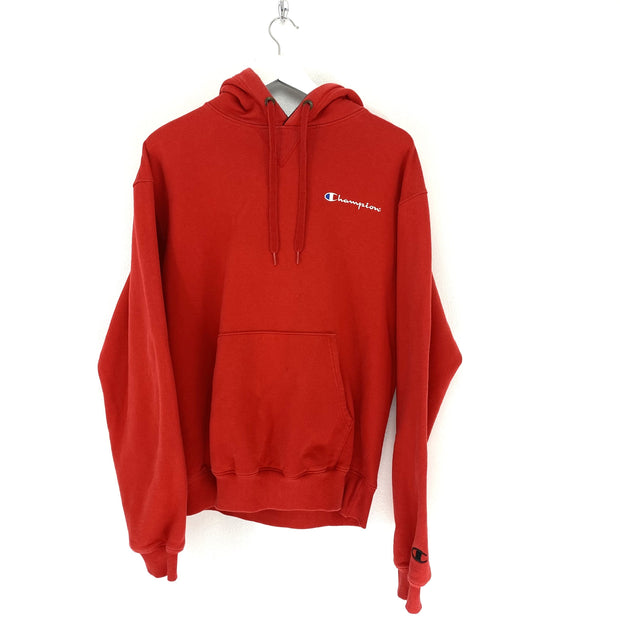 M Champion Red Small Logo Hoodie - DURT