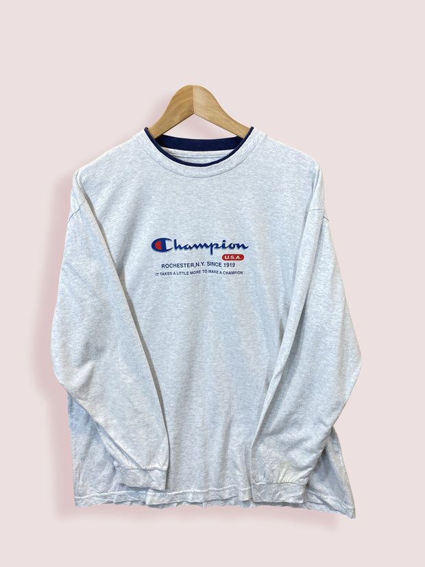 M Champion Spellout Long Sleeve Grey Tee - DURT