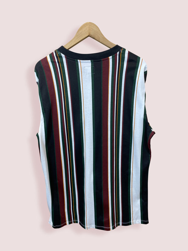 M GUESS MULTI-STRIPE SPELL OUT LONG SLEEVE TEE - DURT