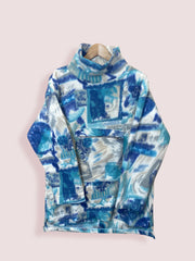 M Italian Ski Fleece Cream Blue with Turtle Neck - DURT