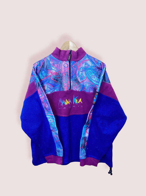 M Mauna Kea Navy Purple Half Zip Fleece - DURT