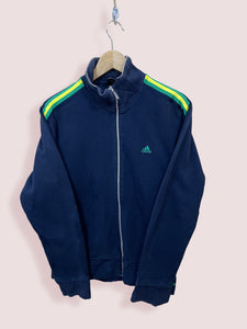 M Vintage Adidas Full Zip Track Top with Green Yellow Tape - DURT