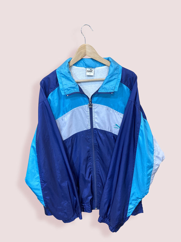 M Vintage Puma Full Zip Shell Windbreaker Navy Turquoise White - DURT