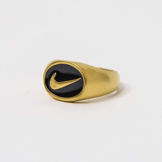 Nike Small Oval Gold Signet Ring - DURT