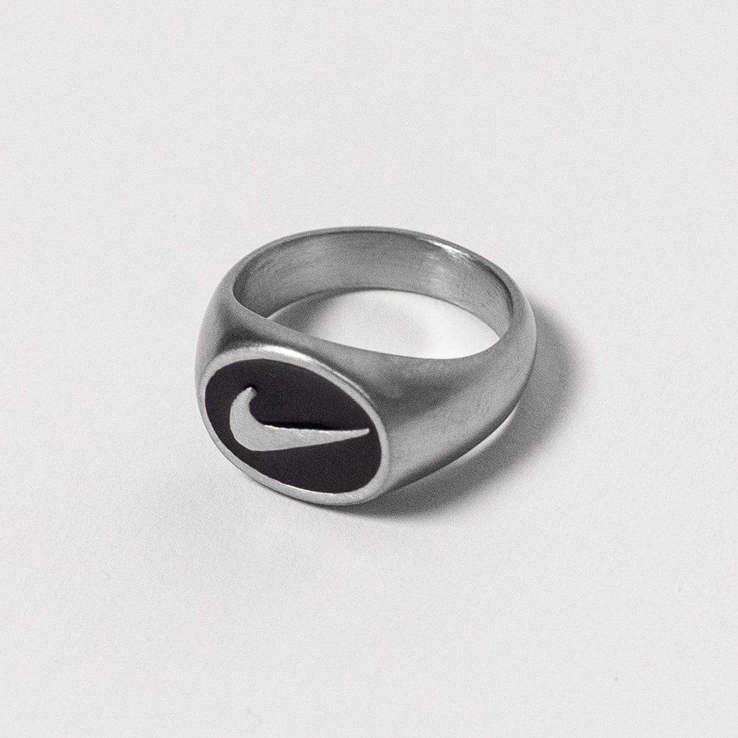 Nike Small Oval Silver Signet Ring - DURT