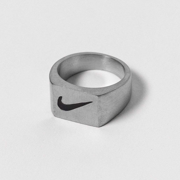 Nike Square Face Silver Ring - DURT