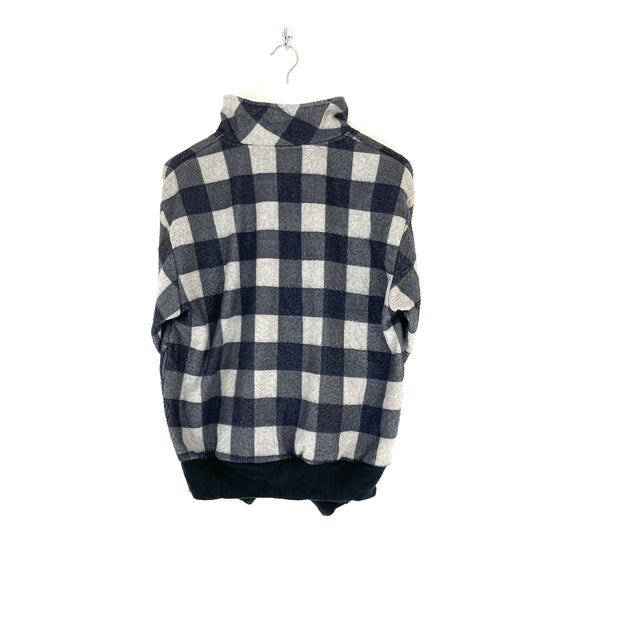 S Black and White Check Quarter Zip Fleece - DURT