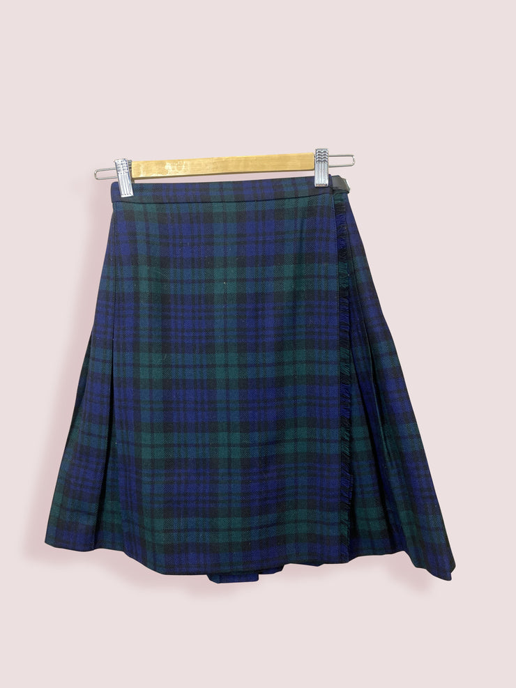 Vintage Womens Green Navy Cheque Mid Length Skirt Adjustable Size 8-10 - DURT