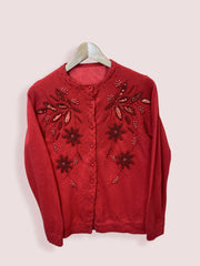 Vintage Womens Red Cardigan Size 8 - DURT