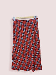 Vintage Womens Red Cheque Skirt Long Size 8-10 - DURT