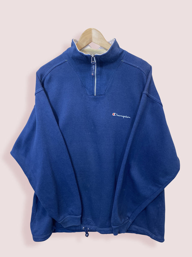XL Champion Half Zip Navy Small Logo Sweatshirt - DURT