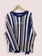 XL GUESS MULTI STRIPE SPELLOUT LONG SLEEVE TEE - DURT