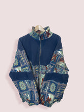 Load image into Gallery viewer, XL Navy Funky Pattern Italian Fleece - DURT