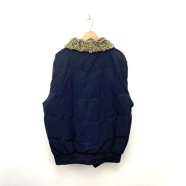 XL Navy Tommy Hilfiger Fur Collar Jacket - DURT