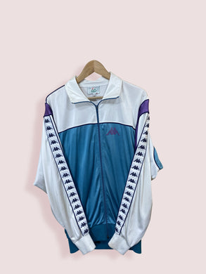 XL Vintage Kappa Full Zip Track Top Two Tone with Shoulder Tape - DURT