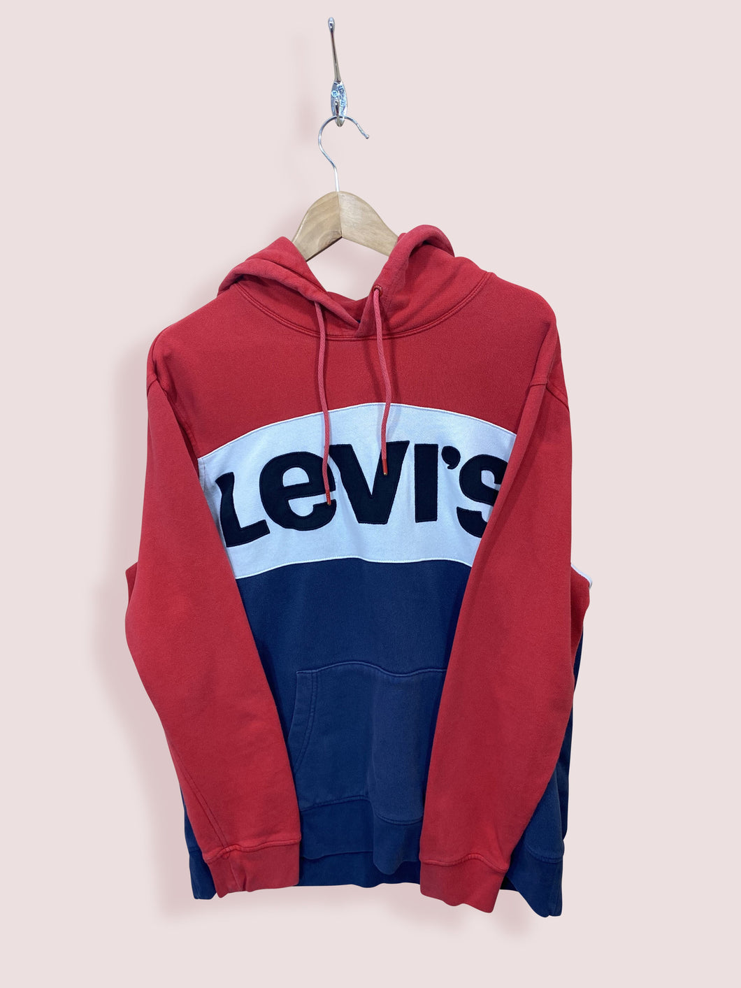 XL Vintage Levis Spell Out Hoodie Red White Navy - DURT