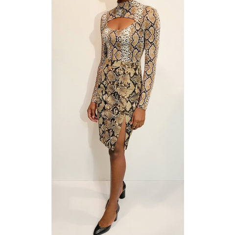 Snake Print Bodycon Top: M