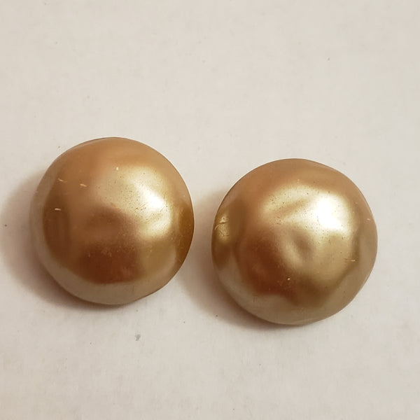 Round Stud Earrings, Clip On