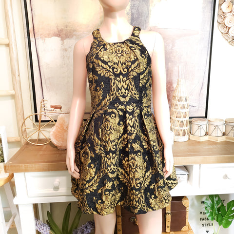 Brocade Black and Gold Dress: Size M