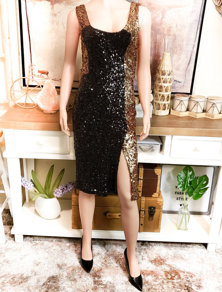 Sequin Gold & Black Dress: Size 4