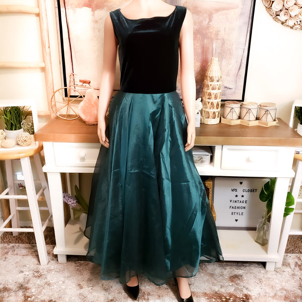 Velvet-Organza Green Dress: Size 8