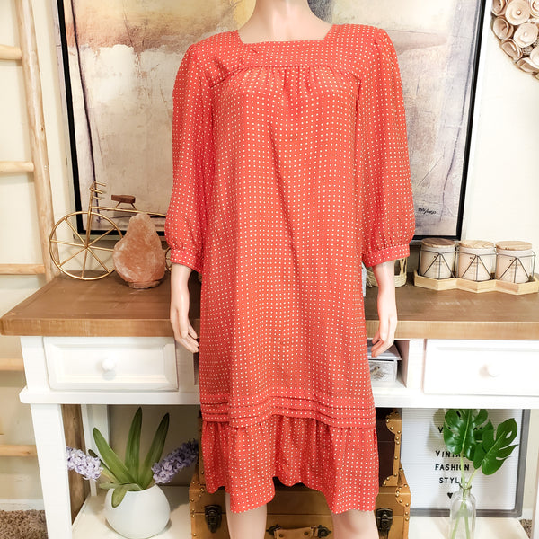 Red-White Polka Dot Dress : Size M