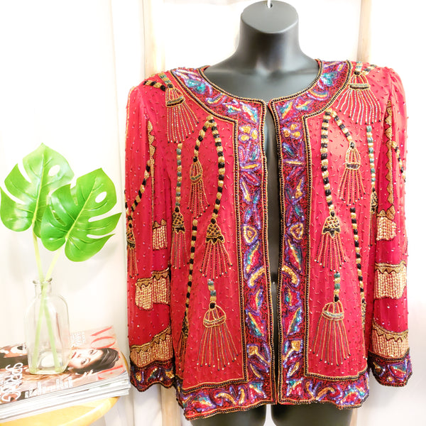 Vintage Beaded Blouse: Size 2X