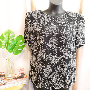 Vintage Beaded Blouse: Size L/XL