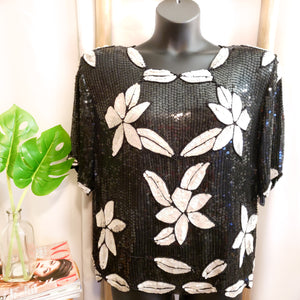 vintage Sequin Black & White Blouse: Size 3X
