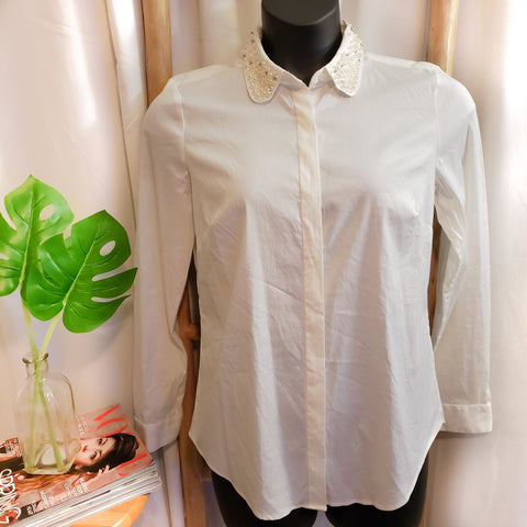 Ann Taylor Beaded-Collar Shirt: Size 10T