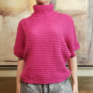 Crochet Turtleneck Top: Size M