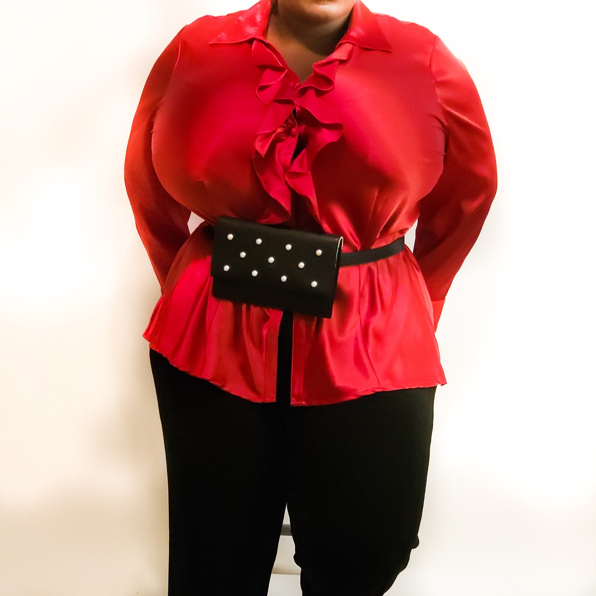 Satin Ruffled Shirt: Size 16