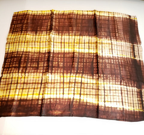 Brown Adire Silk Scarf