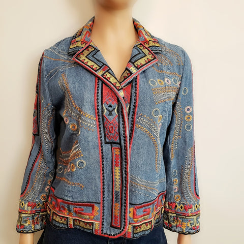 Embroidery Classic denim Jacket: Size 6