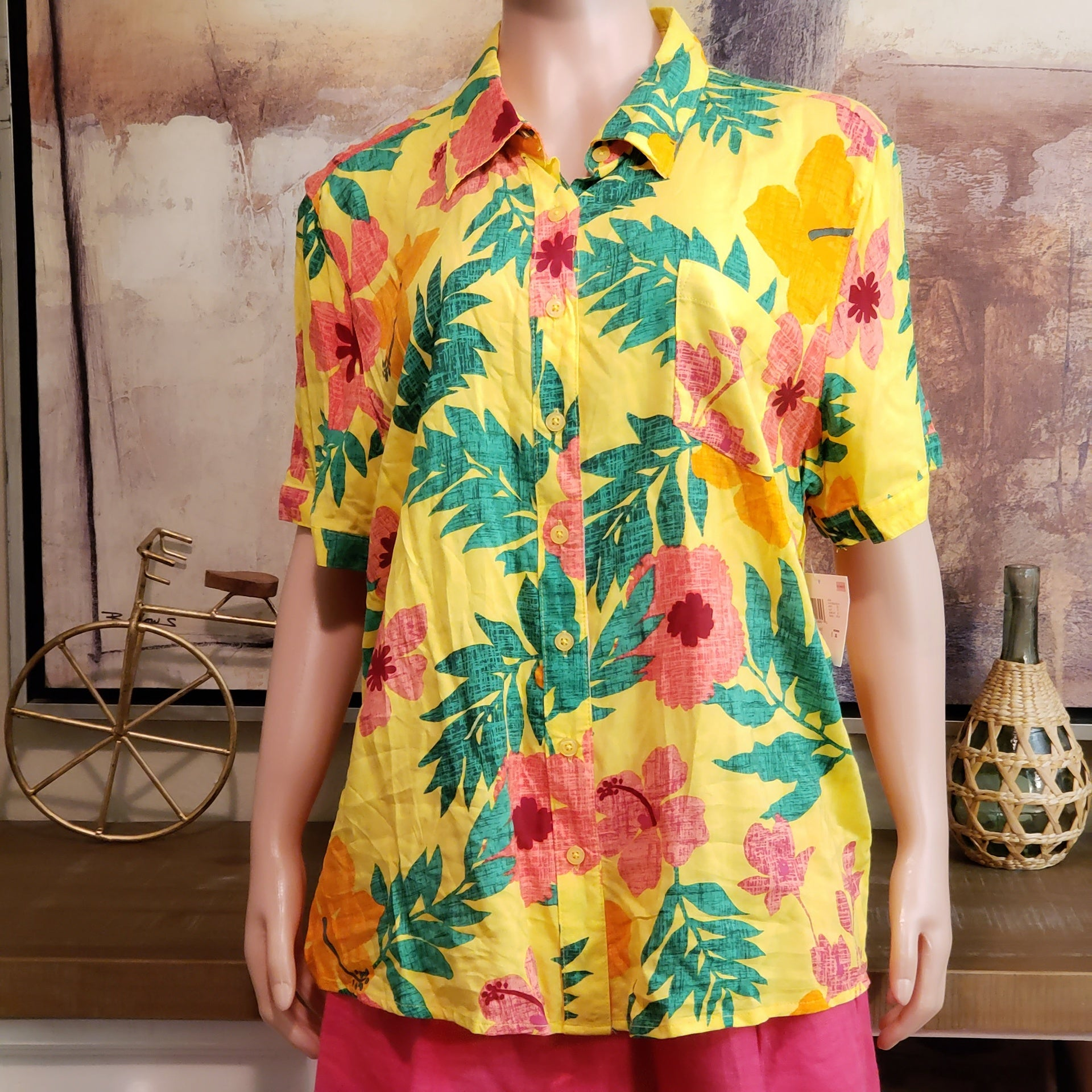 Tropical Print Shirt: Size L