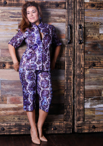 Adire Three Quarter Short Set: Size S