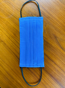 Blue with thin white lines. Black elastic