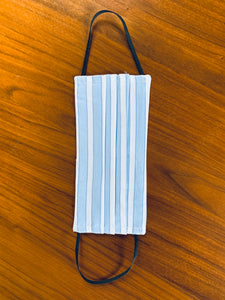 White with multi blue stripe with white elastic.