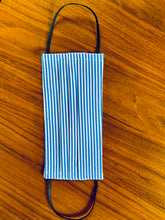 Load image into Gallery viewer, White/ blue candy stripe. Black elastic