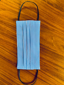 White/ blue candy stripe. Black elastic