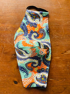Liberty of London paisley with multi colored elastic. Please accept variations with love.
