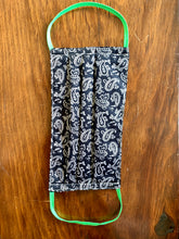 Load image into Gallery viewer, Black and white paisley with green elastic