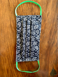 Black and white paisley with green elastic