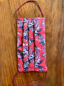 Red floral with red elastic.