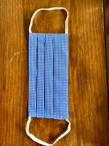 Blue and white mini gingham with white elastic.