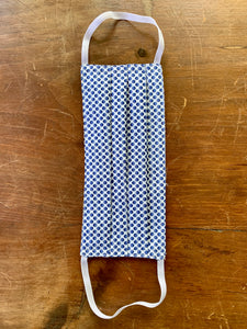 Blue graphic polka dot. white elastic.